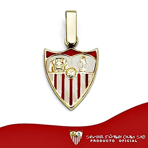 Pendentif Sevilla FC bouclier 18k de la loi de 14mm en or. émail [8532] - Modèle: 40-014
