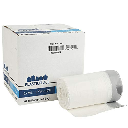 Plasticplace 4 Gallon Trash Bags │ 0.7 Mil │ Drawstring White Garbage Can Liners │ 17