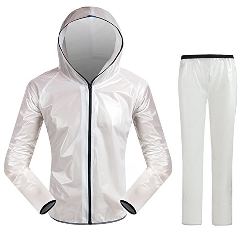 INBIKE Men and Women's Super Light Outdoor Waterproof Cycling Raincoat With Hoods, Unisex Portable Cycling Rain Suit, Jacket And Pant set, White, (US)XL-(CN)XXXL