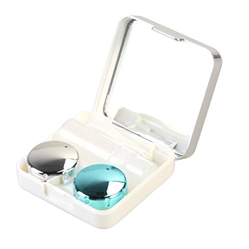 Contact Lenses White (ULTNICE Travel Contact Lens Case Mini Box Container Contact Lens Holder (Silver white))