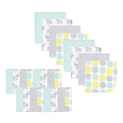 Luvable Friends 24 Piece Washcloths, Gray Elephant, One Size