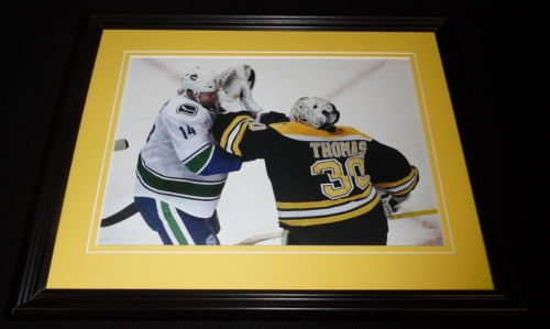 Tim Thomas Alex Burrows FIGHT Framed 11x14 Photo Display Bruins Stanley Cup