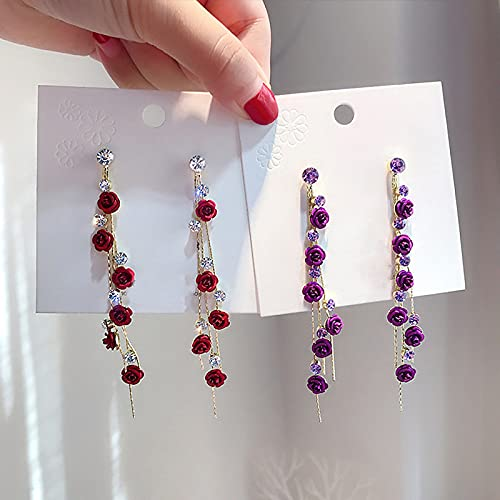 Pendientes Largos Boho Retro Metal Handheld Roses Pendientes Huecos Geométricos Joyería Para Mujer (Púrpura)
