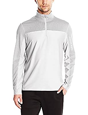 Calvin Klein Athletic Mens Long Sleeve Quarter Zip Texture, White