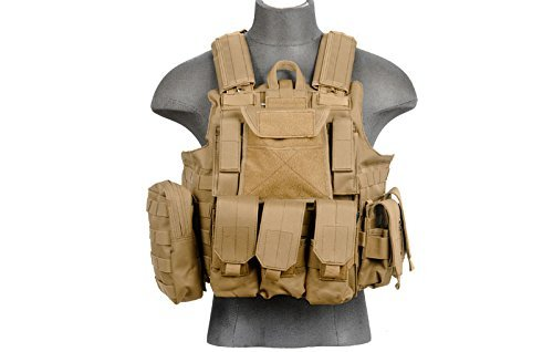 LT 303T MOLLE PALS Military Training Hunting Gaming Vest with Web Modular System Tan FDE Fit Small Medium Large Sizes by Lancer Tactical
