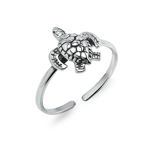 Sterling Silver Toe Ring Turtle Medium Size Jewelry For Women