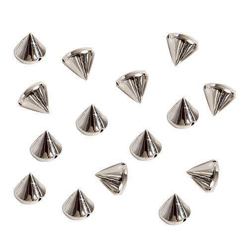 Happy Shop 200 Pieces Bullet Spike Cone Studs for Bags & Shoes Embellishment, DIY, Craft,Purse Feet Spike, Cool Rivets Punk,Silver,10mm