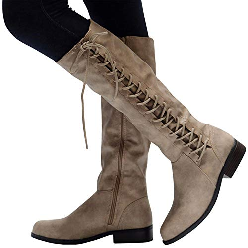 Syktkmx Womens Lace Up Strappy Knee High Motorcycle Riding Low Heel Winter Leather Boots (8 B(M) US, 4-Khaki) ()