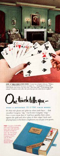 Tone Antique Finish (1951 Ad United States Playing Card Cell-U-Tone Finish Congress Emily Post Home - Original Print Ad)