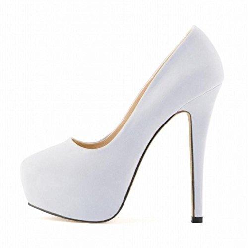 L@YC Mujeres De TacóN alto Discoteca Ultra Elegantes Pies Delgados Novia Super Zapatos Impermeable Plataforma White
