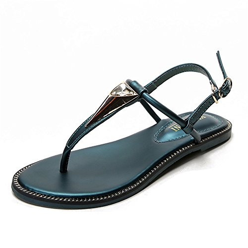ShangYi T-buckle with summer sandals clip toe flat heel shoes student Roman shoes wild large size women's shoes green