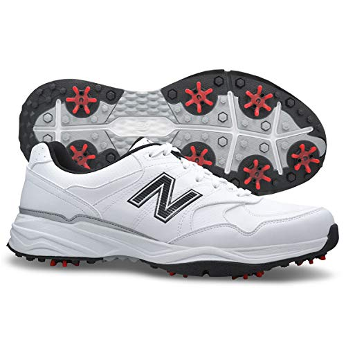 New Balance Men's NBG1701 Golf Shoe, White/Black, 8.5 2E US NBG1701WK