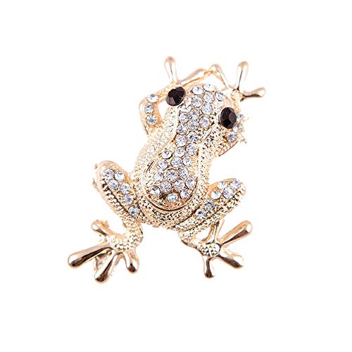 CHOA Crystal Frog Brooch Pin Clear Rhinestones Frog Toad Brooch Pin (Gold) - Gold Frog Plated Brooch