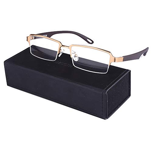 - Men Rectangle Pure Titanium Eyeglasses with TR90 Unbreakable Temple Semi Rimless Business Optical Glasses Frame (Golden)