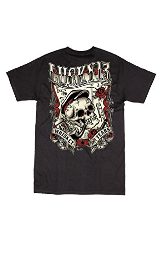 Lucky-13-Whiskey-and-Tears-Skull-Design-Short-Sleeve-Mens-T-shirt