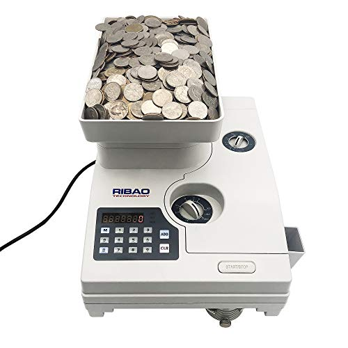 Ribao HCS-3300 High Speed Coin Counter, Heavy Duty Bank Grade Coin Sorter with Large Hopper, Two-Year Warranty