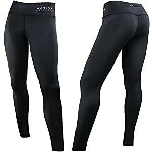 Active Research Women's Compression Pants - Leggings Tights w/ Pocket - M, Black