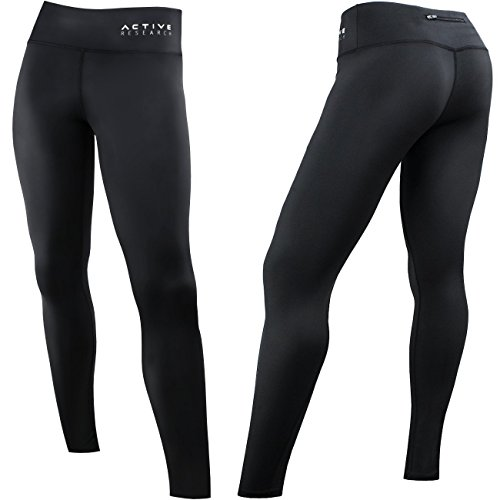 - Active Research Women's Compression Pants - Athletic Tights - Leggings for Yoga, Gym, Running w/Hidden Pocket - Small