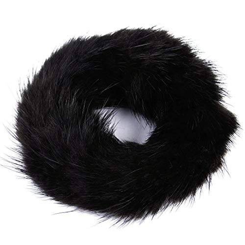 Women Fashion New Elastic Real Mink Fur Ponytail Holder Hair Band Rope Scrunchie (Color - Brown)