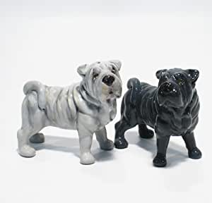 Shar Pei Dog Ceramic Figurine Salt Pepper Shaker 00004 Ceramic Handmade Dog Lover Gift Collectible Home Decor Art and Crafts