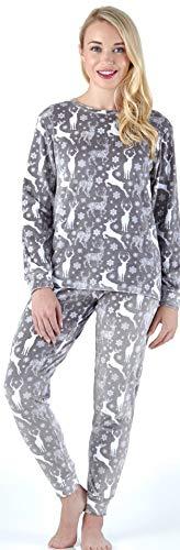 (Frankie & Johnny Women's Sleepwear Super Soft Fleece 2-Piece Pajamas PJ Set, Snow Deer (FJ1139-1080-XL) )