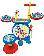 Paw Patrol Chase Elektronische Drumkit voor kinderen, realistisch drumgeluid, 8-toetsen toetsenbord, mp3-stekker, inclusief stoel, blauw/rood, K610PA