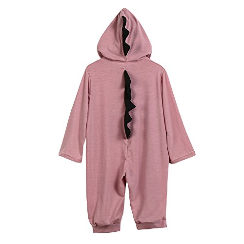 Birdfly Cute Unisex Baby Dinosaur Costume Rompers Hooded Jumpsuit Newborn Dress Up Fall Outfits (18M, Pink) (Football Bunting)