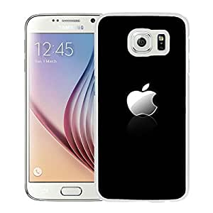 Samsung Galaxy S6 Case ,Unique And Fashionable Designed Case With Apple Shiny Silver Logo Reflection White For Samsung Galaxy S6 Phone Case