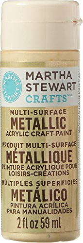 Martha Stewart Crafts Multi-Surface Metallic Acrylic Craft Paint in Assorted Colors (2-Ounce), 32996 Light Gold