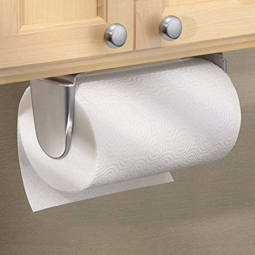 mDesign Wall Mount Paper Towel Holder & Dispenser, Mounts to Walls or Under Cabinets - for Kitchen, Pantry, Utility Room, Laundry and Garage Storage - Holds Jumbo Rolls, Brushed Stainless Steel