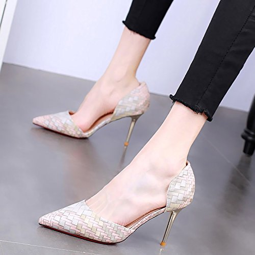Single Sharp Women'S Thin KPHY Plaid Shoes Shallow Pointed Heels High Summer Wild Sexy Fashionable 9Cm Shoes And Grey Shoes 5vqvaYx