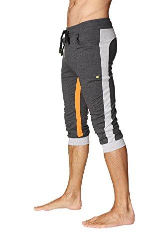 4-rth Men's Ultra-Flex Tri-Color Cuffed Yoga Pant (M, Charcoal w/Grey & Orange)