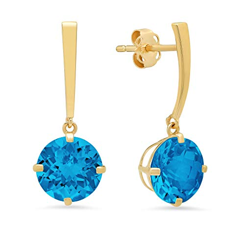 14k Yellow Gold Solitaire Round-Cut Swiss Blue Topaz Drop Earrings (8mm) ()