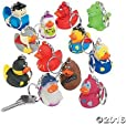 Vinyl Hero Rubber Ducky Collectable Key Chains - 12 ct