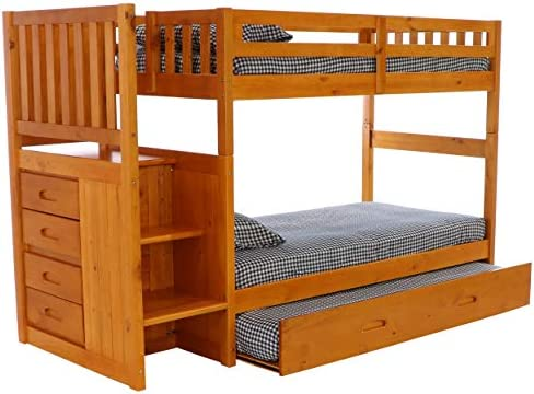 home, kitchen, furniture, bedroom furniture, beds, frames, bases,  beds 12 image Discovery World Furniture Mission Twin Over Twin Staircase deals