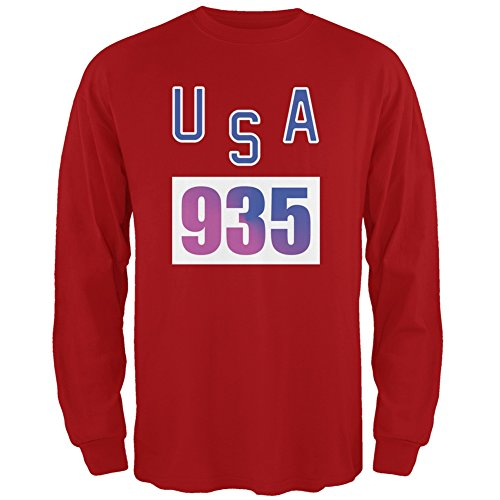 Bruce Jenner Costume (Team Bruce Jenner USA 935 Olympic Costume Red Adult Long Sleeve T-Shirt - Large)
