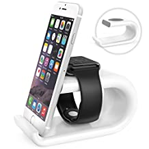 MoKo Apple Watch & iPhone Stand, Acrylic Charging Stand Station Desk Cradle Holder with Comfortable Viewing Angle for Apple Watch Series 1 Series 2, iPhone 7 / 7 Plus / 6s / 6s plus / 6 Plus, WHITE