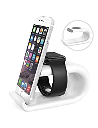 MoKo Apple Watch stand/Phone stand, Acrylic Charging Station Dock Desk Cradle Holder for Apple Watch Series 3 2017/Series 2[38mm & 42mm], iPhone 8/8 Plus/7/7 Plus, iPhone X, Galaxy Note 8, WHITE