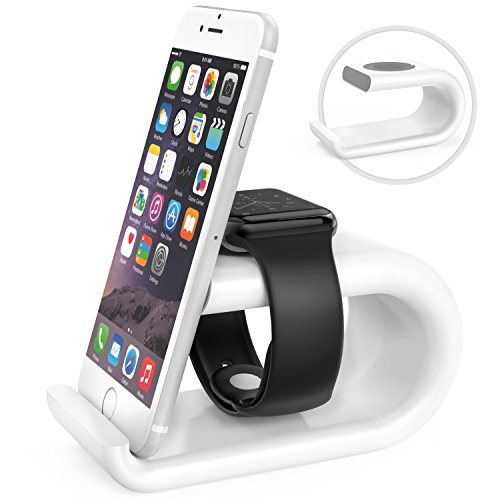 MoKo Apple Watch Stand, Acrylic Horizontal Charging Station Dock Desk Cradle Holder, Compatible with Apple Watch Series 4 2018/Series 3 2 1,44mm/40mm/42mm/38mm, iPhone Xs Max/Xs/XR/8/7 Plus, White