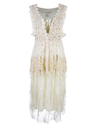 Anna-Kaci Womens Vintage Floral Embroidery Detail Lace Ruffle Gatsby 1920s Dress