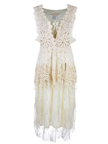 Anna-Kaci Womens Vintage Lace Gatsby 1920s Cocktail Dress with Crochet Vest