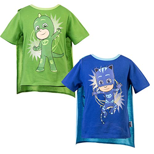 PJ Masks Short Sleeve T-Shirt - 2 Pack of PJMASKS Catboy & Gekko Short Sleeve Cape T-Shirts (Green/Blue, 5/6) ()