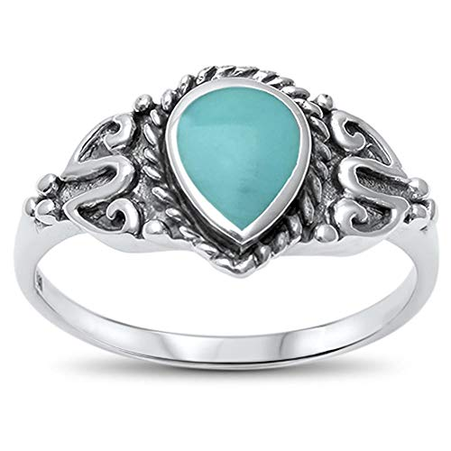 CloseoutWarehouse Teardrop Simulated Turquoise Vintage Ring Sterling Silver Size 9