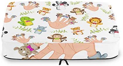 漫画の動物アートワーク手荷物パッキングキューブオーガナイザートイレタリーランドリーストレージバッグポーチパックキューブ4さまざまなサイズセットトラベルキッズレディース