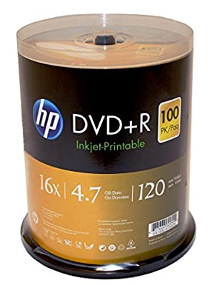 HP DVD+R 4.7GB 16X White Inkjet Printable 100 Pack in Spindle from Hewlett Packard