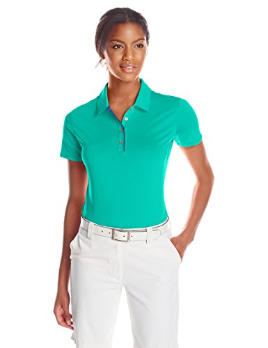 adidas Golf Women's Golf 3-Stripe Short Sleeve Polo Shirt, Nordic Green/Raw Purple, X-Small