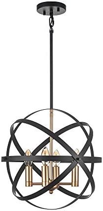 "Jinzo 4-Light Black and Glode Farmhouse Chandeliers 15. "" Rustic Pendant Lighting Spherical Industrial Chandelier Linear Metallic Hanging Pendant Light Fixture"