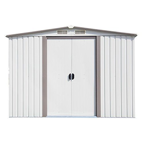 Ainfox 8'X8' Storage Shed with Foundation Kit, Outdoor Steel Toolsheds Storage Floor Frame Kit Utility Garden Backyard Lawn Warm White (8'x8' Storage Shed with Floor Base - Shed Kit Storage 8'