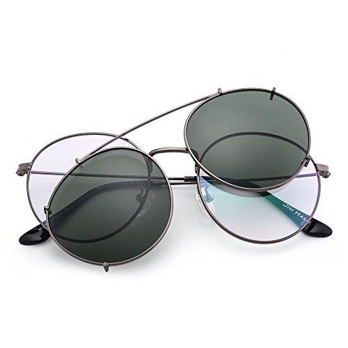 Anteojos Planas Espejo Gunmetal de Mujer de Hombre Gafas Sol Redondas Clip en Polarizadas Verde Retro Bn1q08