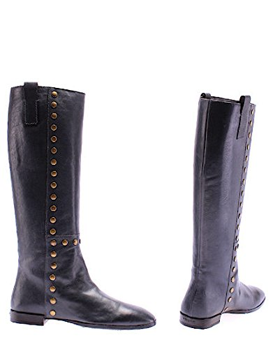 Scarpe Stivali Donna HOGAN Duke Boot Studs Blue Petroleum Pelle Borchie